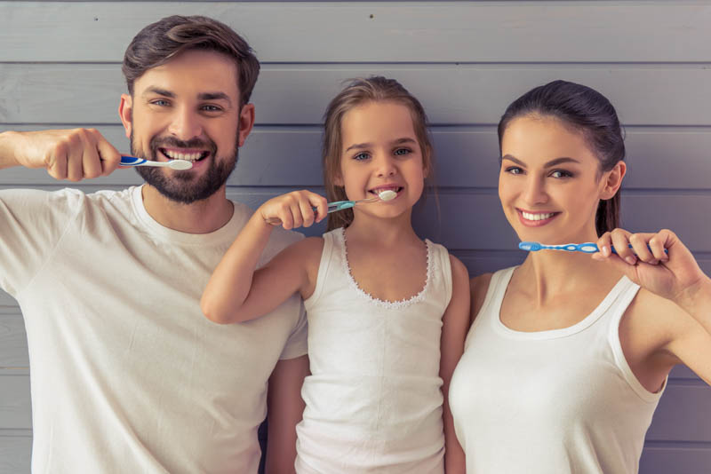 Father Daughter Mother Dental Hygiene